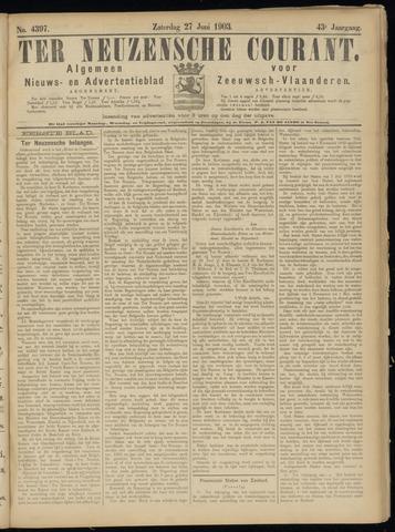 Ter Neuzensche Courant. Algemeen Nieuws- en Advertentieblad voor Zeeuwsch-Vlaanderen / Neuzensche Courant ... (idem) / (Algemeen) nieuws en advertentieblad voor Zeeuwsch-Vlaanderen 1903-06-27