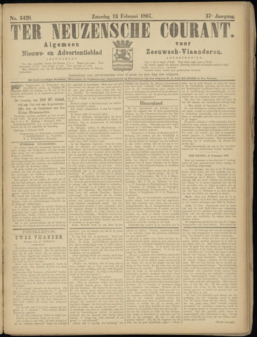 Ter Neuzensche Courant. Algemeen Nieuws- en Advertentieblad voor Zeeuwsch-Vlaanderen / Neuzensche Courant ... (idem) / (Algemeen) nieuws en advertentieblad voor Zeeuwsch-Vlaanderen 1897-02-13