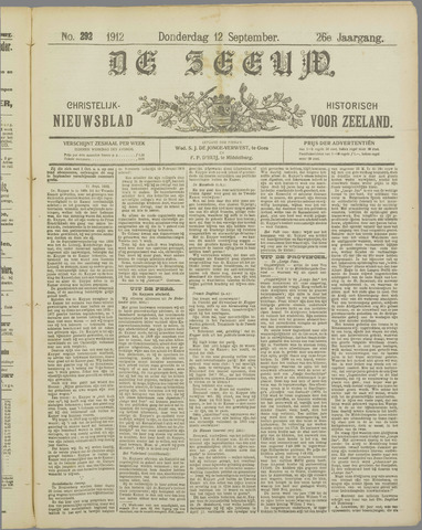 De Zeeuw. Christelijk-historisch nieuwsblad voor Zeeland 1912-09-12