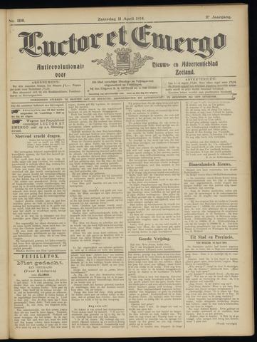 Luctor et Emergo. Antirevolutionair nieuws- en advertentieblad voor Zeeland / Zeeuwsch-Vlaanderen. Orgaan ter verspreiding van de christelijke beginselen in Zeeuwsch-Vlaanderen 1914-04-11
