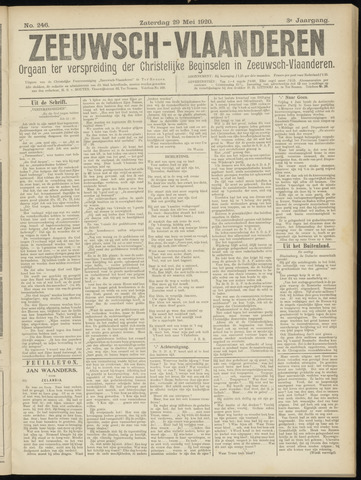 Luctor et Emergo. Antirevolutionair nieuws- en advertentieblad voor Zeeland / Zeeuwsch-Vlaanderen. Orgaan ter verspreiding van de christelijke beginselen in Zeeuwsch-Vlaanderen 1920-05-29