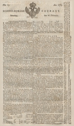 Middelburgsche Courant 1763-02-26