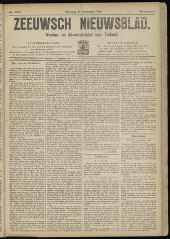 Ter Neuzensch Volksblad. Vrijzinnig nieuws- en advertentieblad voor Zeeuwsch- Vlaanderen / Zeeuwsch Nieuwsblad. Nieuws- en advertentieblad voor Zeeland 1918-09-21