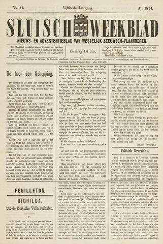 Sluisch Weekblad. Nieuws- en advertentieblad voor Westelijk Zeeuwsch-Vlaanderen 1874-07-14