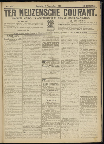 Ter Neuzensche Courant. Algemeen Nieuws- en Advertentieblad voor Zeeuwsch-Vlaanderen / Neuzensche Courant ... (idem) / (Algemeen) nieuws en advertentieblad voor Zeeuwsch-Vlaanderen 1914-12-08