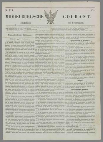 Middelburgsche Courant 1854-09-21