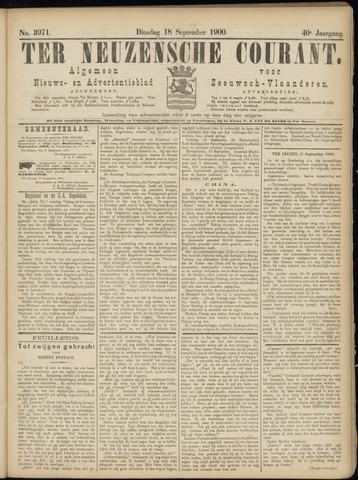 Ter Neuzensche Courant. Algemeen Nieuws- en Advertentieblad voor Zeeuwsch-Vlaanderen / Neuzensche Courant ... (idem) / (Algemeen) nieuws en advertentieblad voor Zeeuwsch-Vlaanderen 1900-09-18