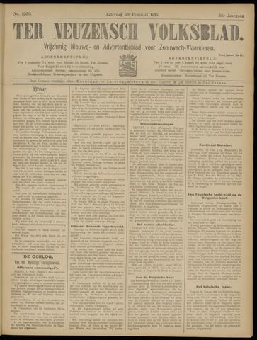 Ter Neuzensch Volksblad. Vrijzinnig nieuws- en advertentieblad voor Zeeuwsch- Vlaanderen / Zeeuwsch Nieuwsblad. Nieuws- en advertentieblad voor Zeeland 1915-02-20