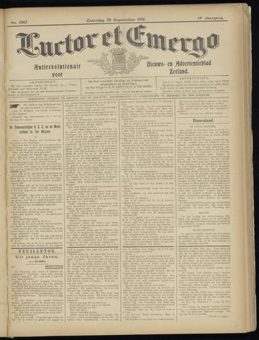 Luctor et Emergo. Antirevolutionair nieuws- en advertentieblad voor Zeeland / Zeeuwsch-Vlaanderen. Orgaan ter verspreiding van de christelijke beginselen in Zeeuwsch-Vlaanderen 1916-09-30