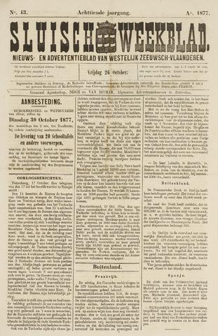 Sluisch Weekblad. Nieuws- en advertentieblad voor Westelijk Zeeuwsch-Vlaanderen 1877-10-26