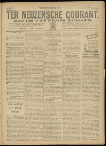 Ter Neuzensche Courant. Algemeen Nieuws- en Advertentieblad voor Zeeuwsch-Vlaanderen / Neuzensche Courant ... (idem) / (Algemeen) nieuws en advertentieblad voor Zeeuwsch-Vlaanderen 1933-05-17