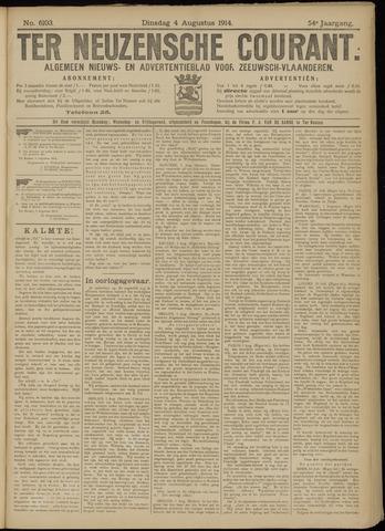 Ter Neuzensche Courant. Algemeen Nieuws- en Advertentieblad voor Zeeuwsch-Vlaanderen / Neuzensche Courant ... (idem) / (Algemeen) nieuws en advertentieblad voor Zeeuwsch-Vlaanderen 1914-08-04