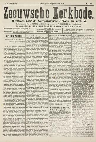 Zeeuwsche kerkbode, weekblad gewijd aan de belangen der gereformeerde kerken/ Zeeuwsch kerkblad 1916-09-22