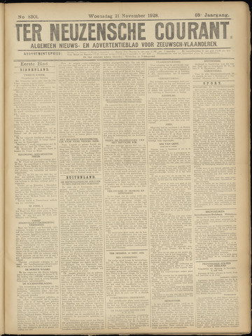 Ter Neuzensche Courant. Algemeen Nieuws- en Advertentieblad voor Zeeuwsch-Vlaanderen / Neuzensche Courant ... (idem) / (Algemeen) nieuws en advertentieblad voor Zeeuwsch-Vlaanderen 1928-11-21