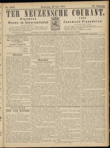 Ter Neuzensche Courant. Algemeen Nieuws- en Advertentieblad voor Zeeuwsch-Vlaanderen / Neuzensche Courant ... (idem) / (Algemeen) nieuws en advertentieblad voor Zeeuwsch-Vlaanderen 1911-06-22