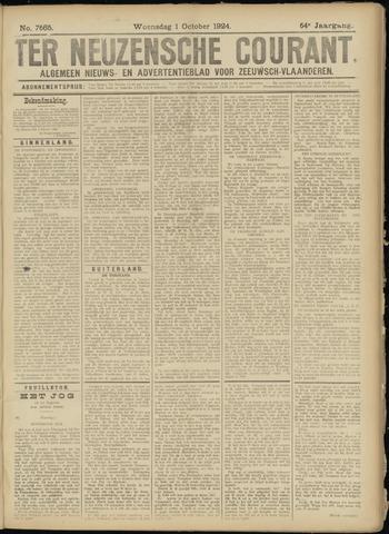 Ter Neuzensche Courant. Algemeen Nieuws- en Advertentieblad voor Zeeuwsch-Vlaanderen / Neuzensche Courant ... (idem) / (Algemeen) nieuws en advertentieblad voor Zeeuwsch-Vlaanderen 1924-10-01