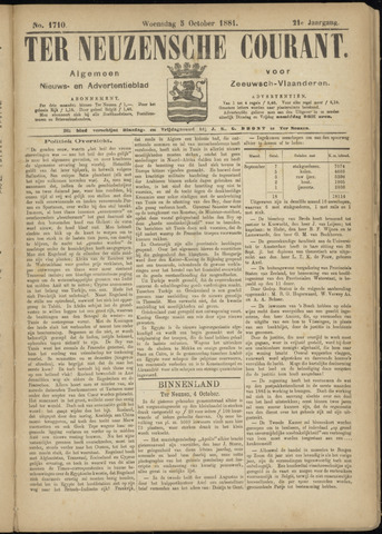 Ter Neuzensche Courant. Algemeen Nieuws- en Advertentieblad voor Zeeuwsch-Vlaanderen / Neuzensche Courant ... (idem) / (Algemeen) nieuws en advertentieblad voor Zeeuwsch-Vlaanderen 1881-10-05