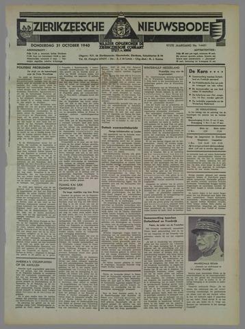 Zierikzeesche Nieuwsbode 1940-10-31