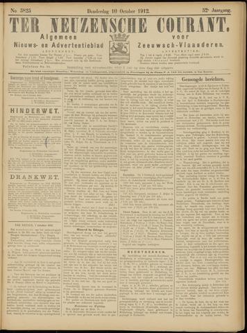 Ter Neuzensche Courant. Algemeen Nieuws- en Advertentieblad voor Zeeuwsch-Vlaanderen / Neuzensche Courant ... (idem) / (Algemeen) nieuws en advertentieblad voor Zeeuwsch-Vlaanderen 1912-10-10