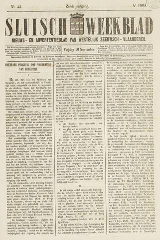 Sluisch Weekblad. Nieuws- en advertentieblad voor Westelijk Zeeuwsch-Vlaanderen 1865-11-10