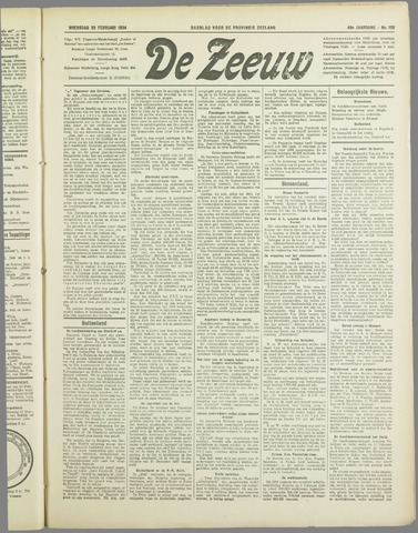 De Zeeuw. Christelijk-historisch nieuwsblad voor Zeeland 1934-02-28