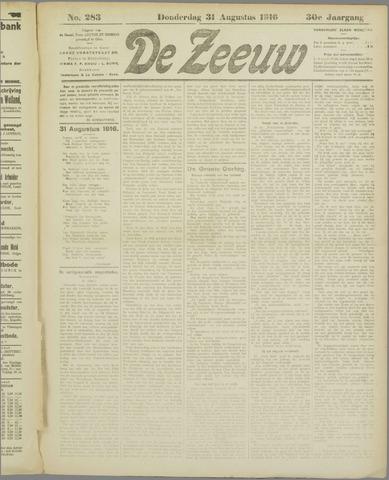 De Zeeuw. Christelijk-historisch nieuwsblad voor Zeeland 1916-08-31