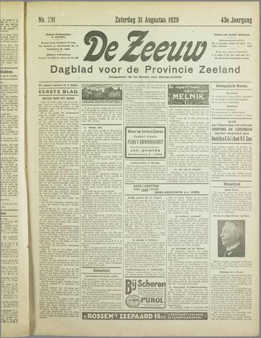 De Zeeuw. Christelijk-historisch nieuwsblad voor Zeeland 1929-08-31