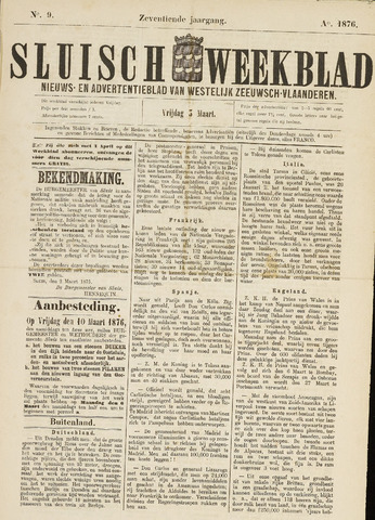 Sluisch Weekblad. Nieuws- en advertentieblad voor Westelijk Zeeuwsch-Vlaanderen 1876-03-03