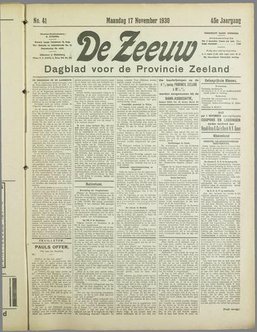 De Zeeuw. Christelijk-historisch nieuwsblad voor Zeeland 1930-11-17