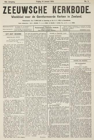 Zeeuwsche kerkbode, weekblad gewijd aan de belangen der gereformeerde kerken/ Zeeuwsch kerkblad 1926-01-15