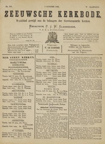Zeeuwsche kerkbode, weekblad gewijd aan de belangen der gereformeerde kerken/ Zeeuwsch kerkblad 1889-10-05