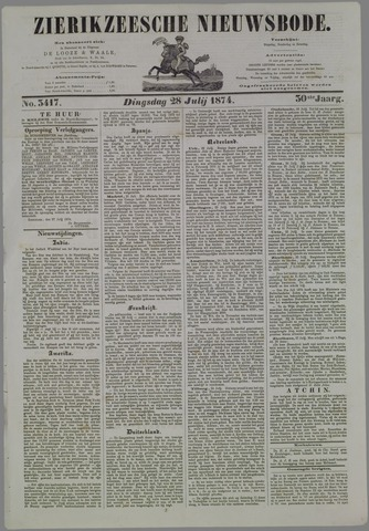 Zierikzeesche Nieuwsbode 1874-07-28