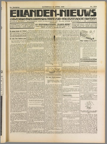 Eilanden-nieuws. Christelijk streekblad op gereformeerde grondslag 1939-04-22