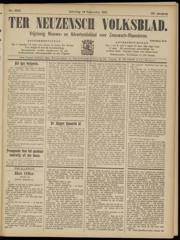 Ter Neuzensch Volksblad. Vrijzinnig nieuws- en advertentieblad voor Zeeuwsch- Vlaanderen / Zeeuwsch Nieuwsblad. Nieuws- en advertentieblad voor Zeeland 1912-09-14