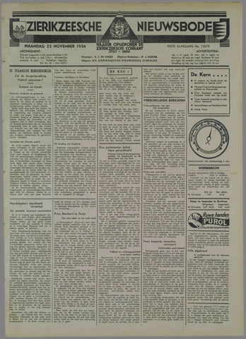 Zierikzeesche Nieuwsbode 1936-11-23