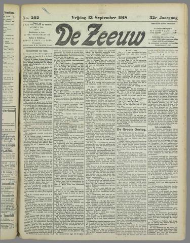 De Zeeuw. Christelijk-historisch nieuwsblad voor Zeeland 1918-09-13