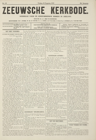 Zeeuwsche kerkbode, weekblad gewijd aan de belangen der gereformeerde kerken/ Zeeuwsch kerkblad 1935-08-30