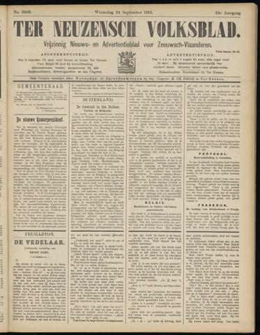 Ter Neuzensch Volksblad. Vrijzinnig nieuws- en advertentieblad voor Zeeuwsch- Vlaanderen / Zeeuwsch Nieuwsblad. Nieuws- en advertentieblad voor Zeeland 1913-09-24