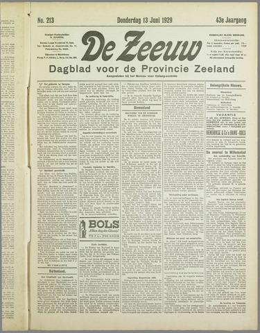 De Zeeuw. Christelijk-historisch nieuwsblad voor Zeeland 1929-06-13