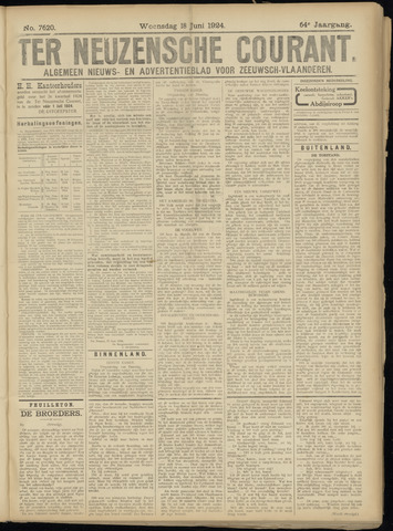 Ter Neuzensche Courant. Algemeen Nieuws- en Advertentieblad voor Zeeuwsch-Vlaanderen / Neuzensche Courant ... (idem) / (Algemeen) nieuws en advertentieblad voor Zeeuwsch-Vlaanderen 1924-06-18