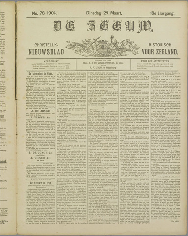 De Zeeuw. Christelijk-historisch nieuwsblad voor Zeeland 1904-03-29