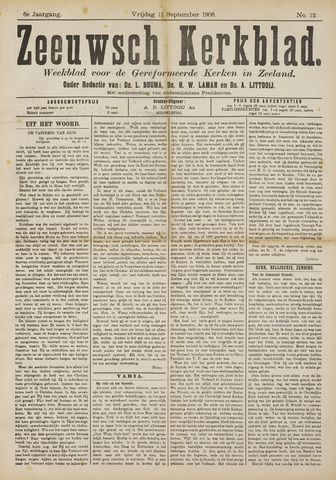 Zeeuwsche kerkbode, weekblad gewijd aan de belangen der gereformeerde kerken/ Zeeuwsch kerkblad 1908-09-11