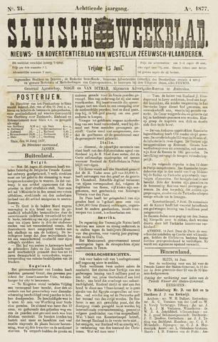 Sluisch Weekblad. Nieuws- en advertentieblad voor Westelijk Zeeuwsch-Vlaanderen 1877-06-15