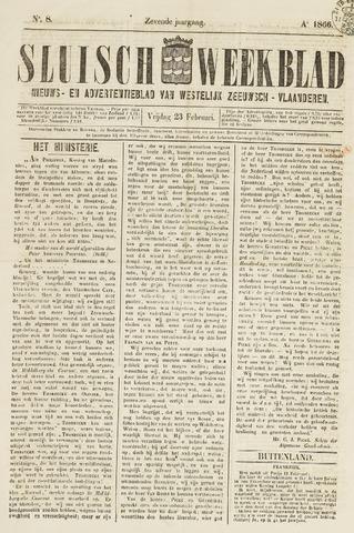 Sluisch Weekblad. Nieuws- en advertentieblad voor Westelijk Zeeuwsch-Vlaanderen 1866-02-23