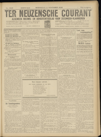 Ter Neuzensche Courant. Algemeen Nieuws- en Advertentieblad voor Zeeuwsch-Vlaanderen / Neuzensche Courant ... (idem) / (Algemeen) nieuws en advertentieblad voor Zeeuwsch-Vlaanderen 1936-11-18