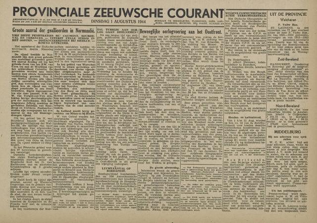 Provinciale Zeeuwse Courant 1944-08-01