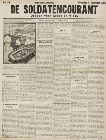 De Soldatencourant. Orgaan voor Leger en Vloot 1914-12-09