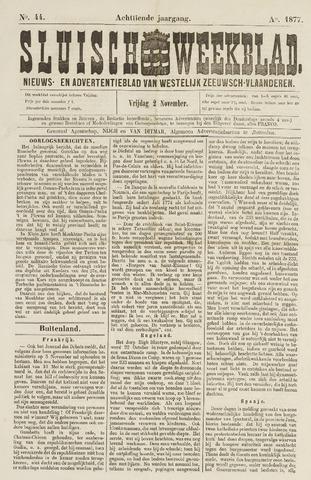 Sluisch Weekblad. Nieuws- en advertentieblad voor Westelijk Zeeuwsch-Vlaanderen 1877-11-02