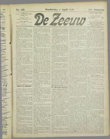 De Zeeuw. Christelijk-historisch nieuwsblad voor Zeeland 1918-04-04