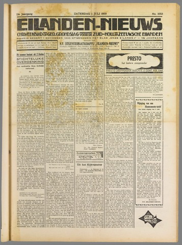 Eilanden-nieuws. Christelijk streekblad op gereformeerde grondslag 1939-07-01